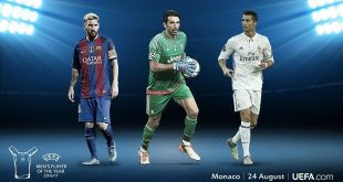 Buffon, Messi & Ronaldo on UEFA Men's Player of the Year 2016/17 shortlist!