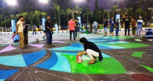 Festive mood ahead of 2017 FIFA U-17 World Cup Final as art students paint Alpona at VYBK Stadium!