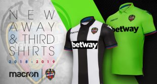 White, Black & Fluorescent Green the colours of Levante UD's Away & third kit by Macron!
