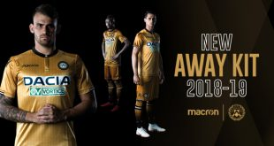 Udinese Calcio's gold and pinstripe away jersey by Macron!