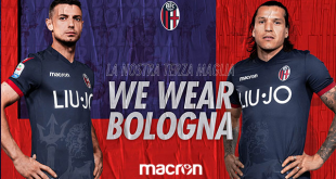 The image of neptune on Bologna FC 1909 third shirt by Macron!
