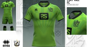 Errea-made Port Vale FC 2020/21 third kit, bright green & with a hand from Robbie Williams!