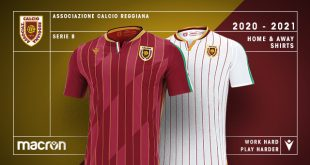 Gold & Italian tricolour on new AC Reggiana 1919 kits by Macron!