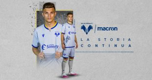 Silver & Silhouette of Mastiff in new Macron-made Hellas Verona third kit!