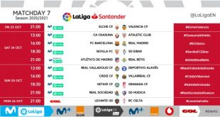 Kick-off times released for Matchday 7 of 2020/21 LaLiga!