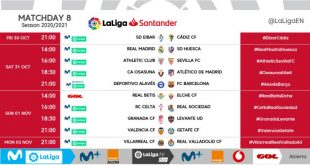 Kick-off times released for Matchday 8 of 2020/21 LaLiga!