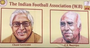 Chuni Goswami, PK Banerjee, Sailen Manna hoardings in Kolkata during Durga Puja!