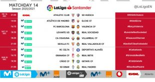 Kick-off times released for Matchday 14 of 2020/21 LaLiga!