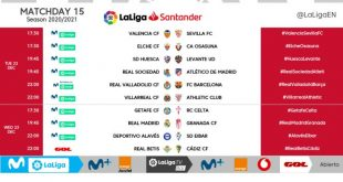 Kick-off times released for Matchday 15 of 2020/21 LaLiga!