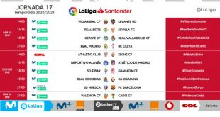 Kick-off times released for Matchday 17 of 2020/21 LaLiga!