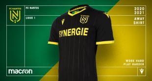 Total black & subtle stripes for new FC Nantes 2020 away kit by Macron!