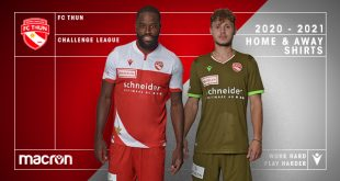 Traditional red & white besides profile of Swiss mountains on new FC Thun kits by Macron!