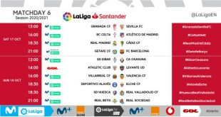 Kick-off times released for Matchday 6 of 2020/21 LaLiga!
