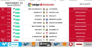 Kick-off times released for Matchday 13 of 2020/21 LaLiga!