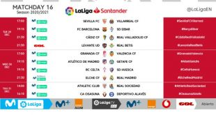Kick-off times released for Matchday 16 of 2020/21 LaLiga!