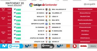 Kick-off times released for Matchday 20 of 2020/21 LaLiga!