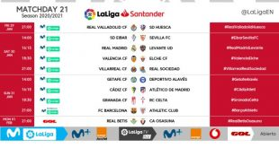 Kick-off times released for Matchday 21 of 2020/21 LaLiga!