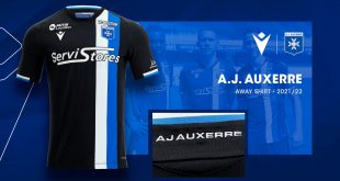 Black is the dominant colour in the new Macron-made AJ Auxerre 2021/22 away kit!
