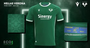 Hellas Verona's third kit by Macron is green inside & out!