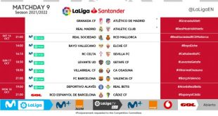 Kick-off times confirmed for Matchday 9 of 2021/22 LaLiga!