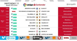 Kick-off times confirmed for Matchday 11 of 2021/22 LaLiga!