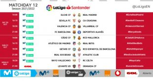 Kick-off times confirmed for Matchday 12 of 2021/22 LaLiga!