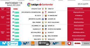 Kick-off times confirmed for Matchday 13 of 2021/22 LaLiga!