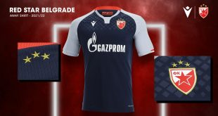 Navy blue, silver & embossed graphic in new Red Star Belgrade away kit!